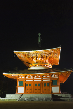 japanese pagoda at night illuminated by