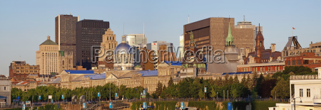 bonsecours market and the montreal skyline