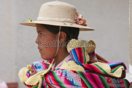 profile shot of young bolivian girl