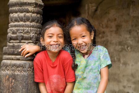 nepal kathmandu bhaktapur two adorable little