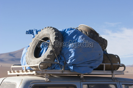 used spare tires on the roof