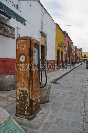 old gas pump on street corner