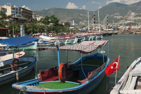 view of fishing boats moored waiting