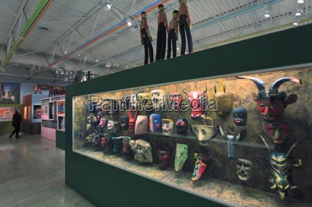 display of guatemalan dance masks at