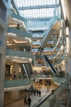 interior of multi level shopping mall