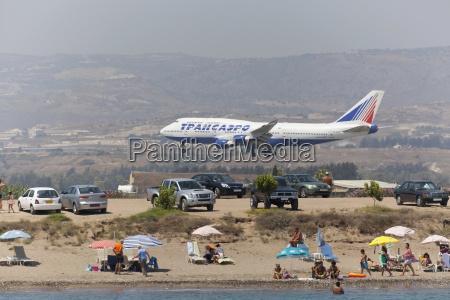 plane landing near beach cyprus