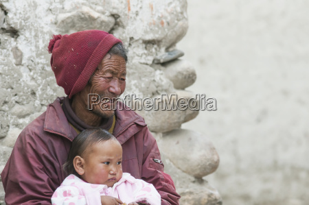 nepal mustang region aged native citizen