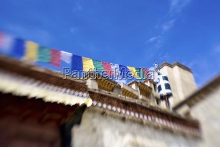 ladakh india prayer flags hanging between