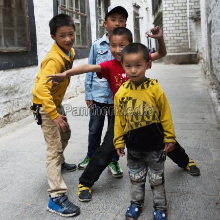 china xizang tibet four boys together