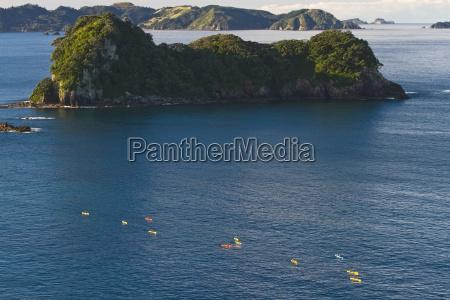 high angle view of kayaks paddling