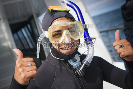 wearing dive gear and getting ready