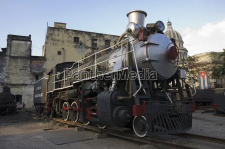 locomotive restoration workshop restored engine sits