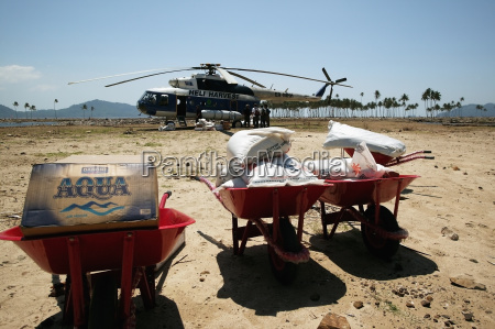 supplies brought by helicopter after the