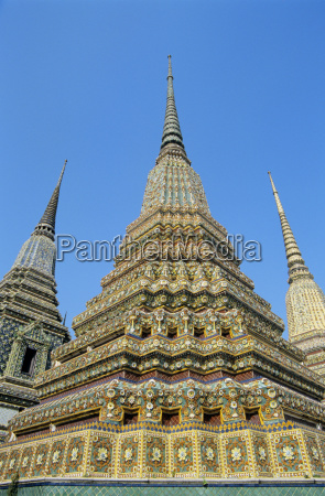 thailand bangkok colorful pointed steeples against