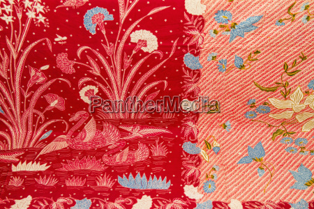 antique indonesian batik fabric on display