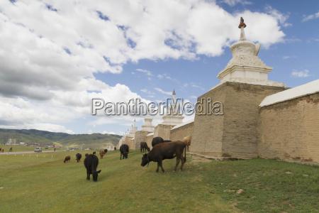 stupas on the enclosure wall surrounding