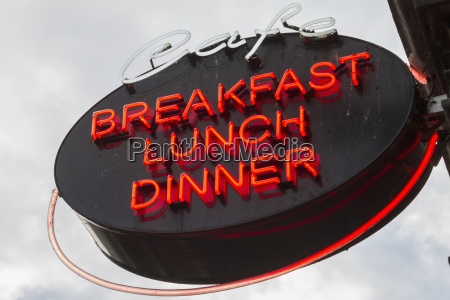 neon sign for a cafe advertising