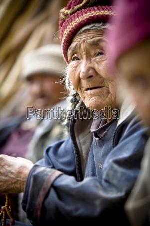 portrait of senior woman ladakh india