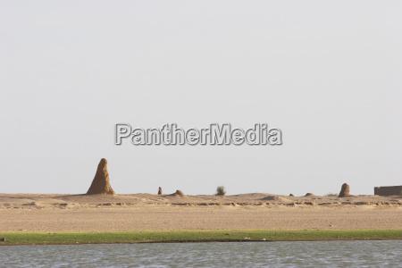termite mounds along the shores of