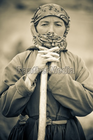 portrait of female farmer ladakh india