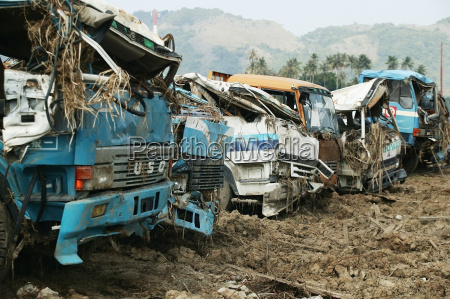 gathered vehicles that were destroyed by