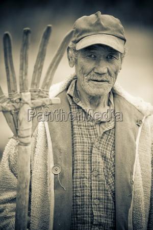 portrait of male farmer ladakh india
