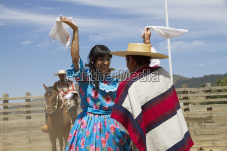 couple dancing cueca the traditional dance