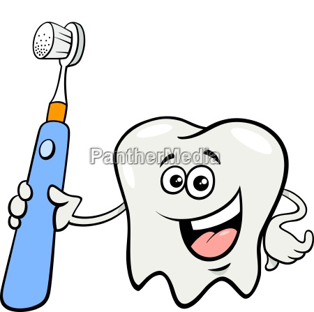 tooth character with toothbrush cartoon