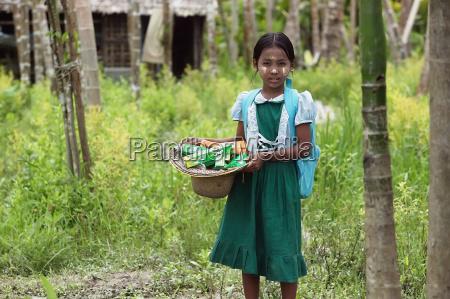 school children receive assistance following cyclone
