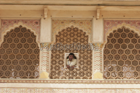 latticed marble window at the ganesh