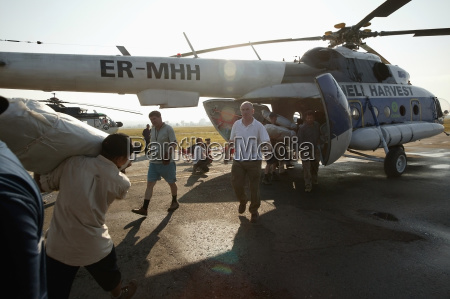 loading one of the oxfam helicopters