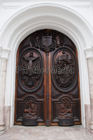 carved wooden door of la merced
