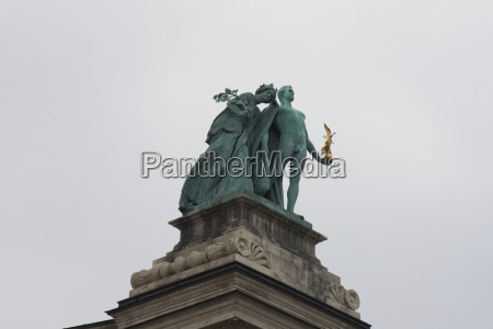 statues on heroes square budapest hungary