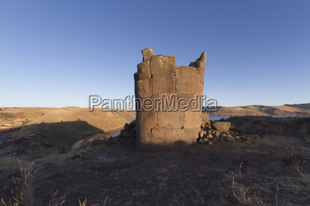chullpa ancient colla funerary tower overlooking