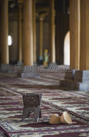 objects on muslim prayer mat in