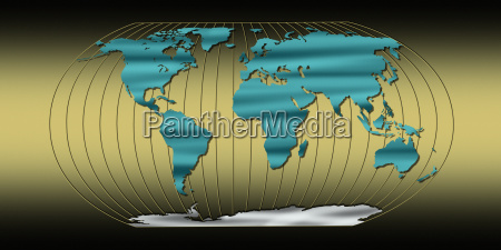 world map with longitude lines on