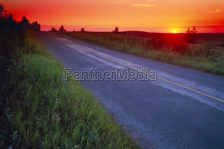 country road at sunset
