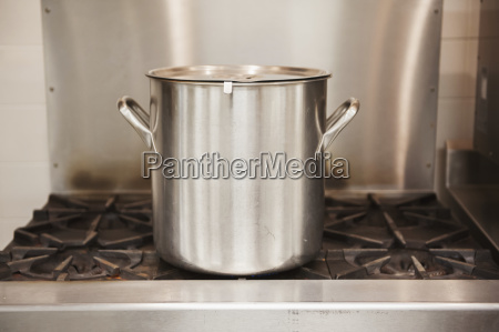 stainless steel soup pot on range