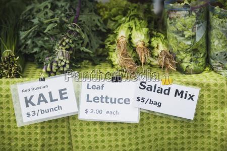 signs for freshly harvested vegetables for