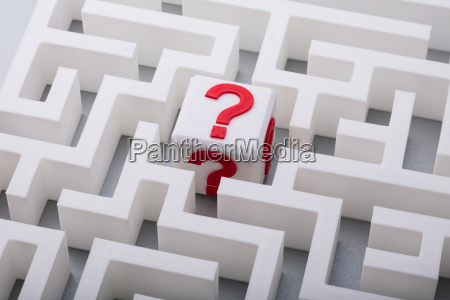 white cube with question mark sign