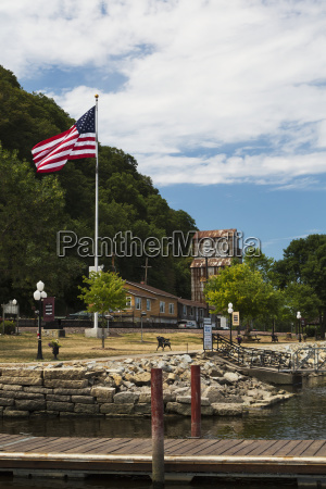 boat dock with the american flag