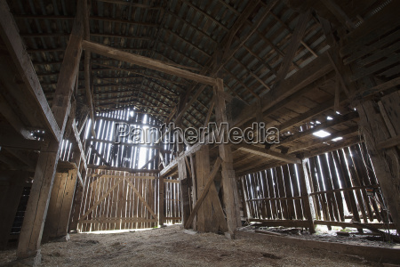 interior of an old barn in
