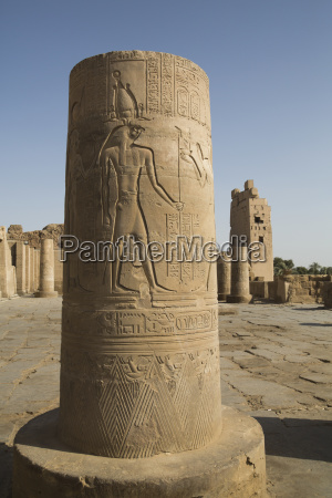 pillar with bas relief of the