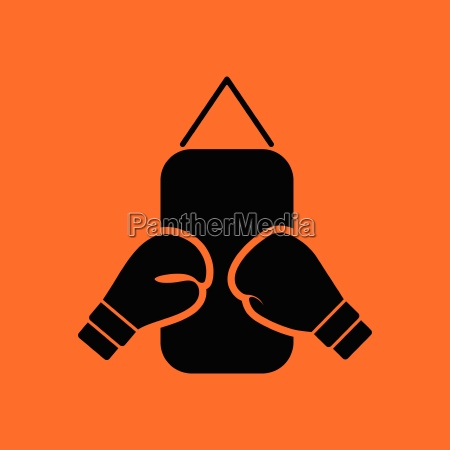 boxing pear and gloves icon