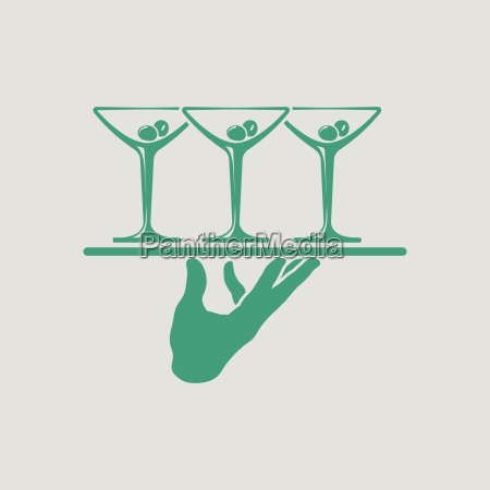 waiter hand holding tray with martini