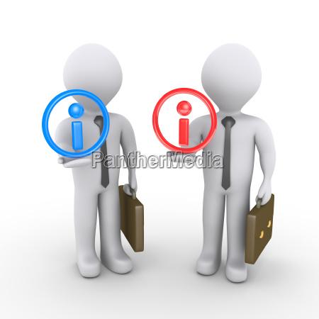 3d businessmen share information