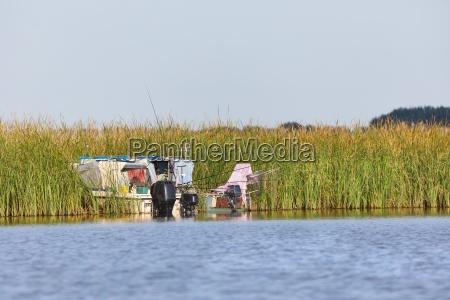fishing boats on a lake