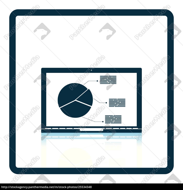 laptop, with, analytics, diagram, icon - 25534348
