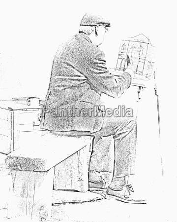 sketch of old man painting alberta