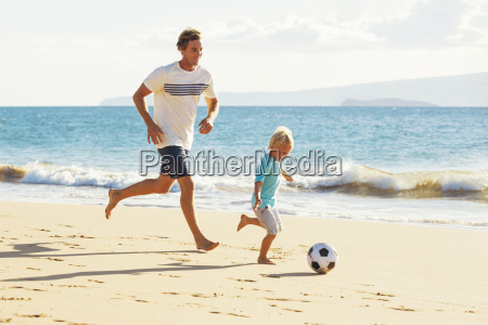happy father and son having fun